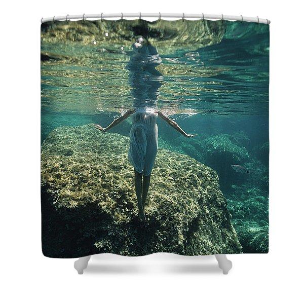 Underwater White Dress V Shower Curtain