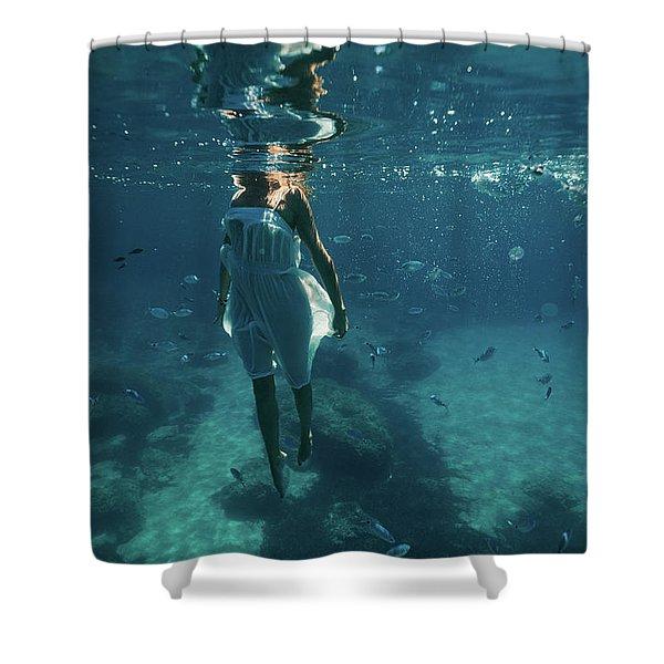 Underwater White Dress Vii Shower Curtain