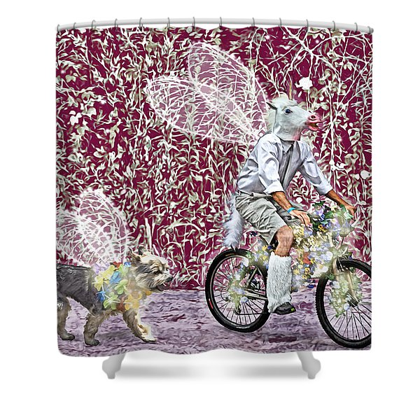 Unicorn And Doggie Fairies Shower Curtain