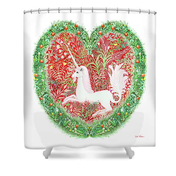 Unicorn Heart With Millefleurs Shower Curtain