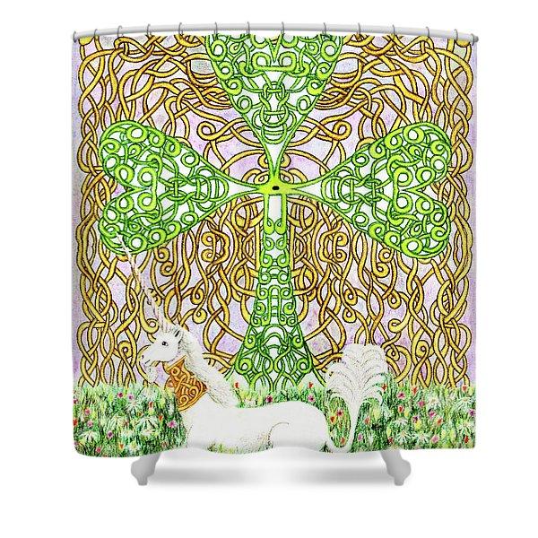 Unicorn With Shamrock Shower Curtain
