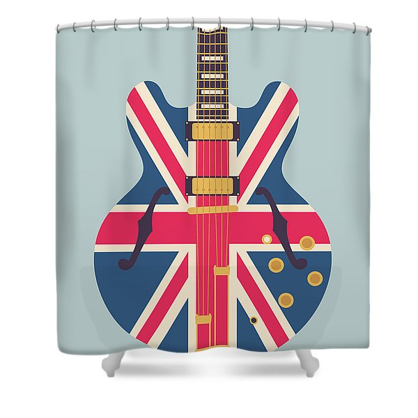 Union Jack Guitar - Original Grey Shower Curtain