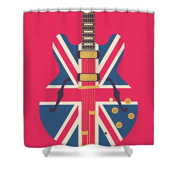 Union Jack Guitar - Original Red Shower Curtain
