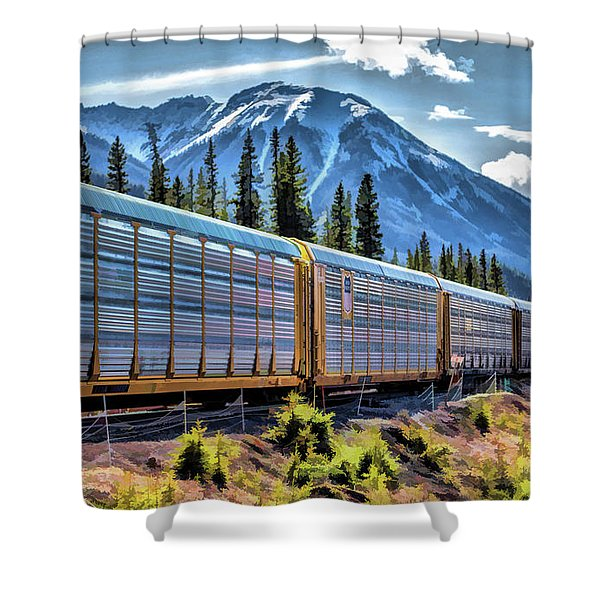 Union Pacific Mountain Freight Train Shower Curtain