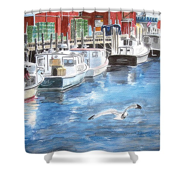 Shower Curtain featuring the painting Union Wharf by Dominic White