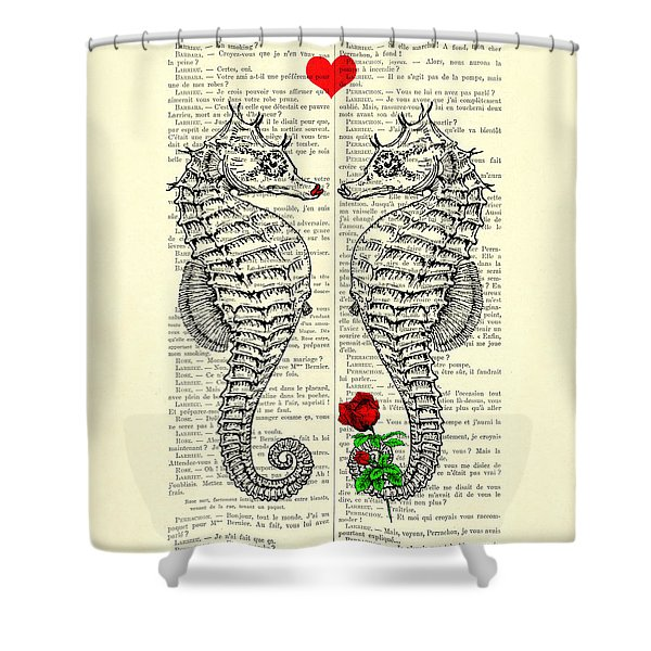 Unique Valentines Day Gift Ideas, Seahorses Shower Curtain