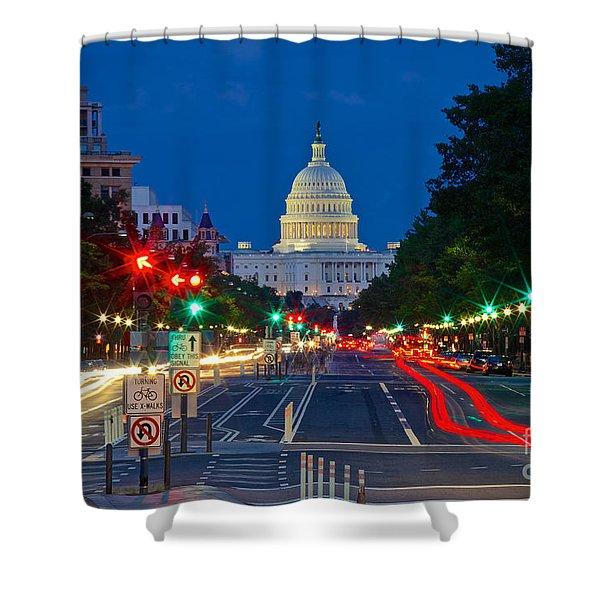 United States Capitol Along Pennsylvania Avenue In Washington, D.c.   Shower Curtain