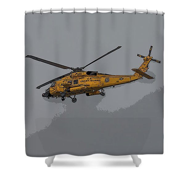 United States Coast Guard Helicopter Shower Curtain