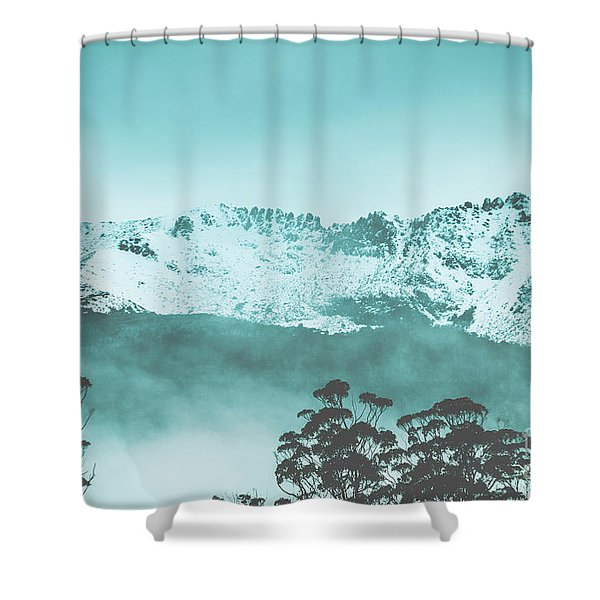 Untouched Winter Peaks Shower Curtain