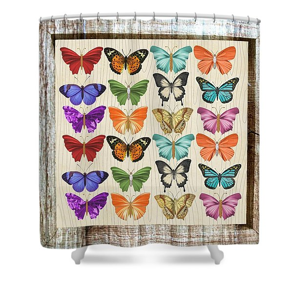 Colourful Butterflies Collage Shower Curtain