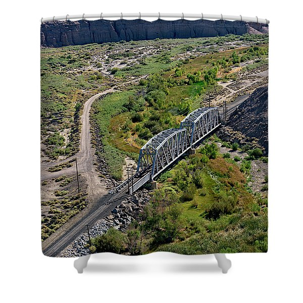 Shower Curtain featuring the photograph Up Tracks Cross The Mojave River by Jim Thompson