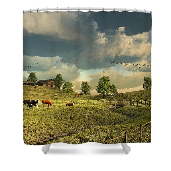 Upon The Rural Seas Shower Curtain