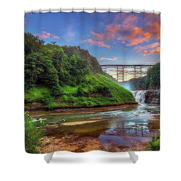 Upper Falls At Sunset Shower Curtain