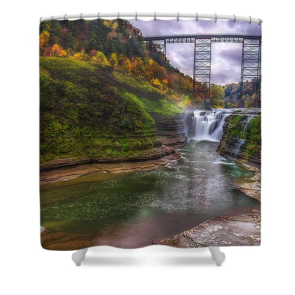 Upper Falls In Fall Shower Curtain