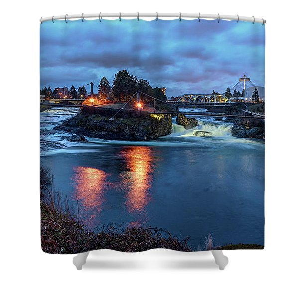 Upper Spokane Falls At Dusk Shower Curtain