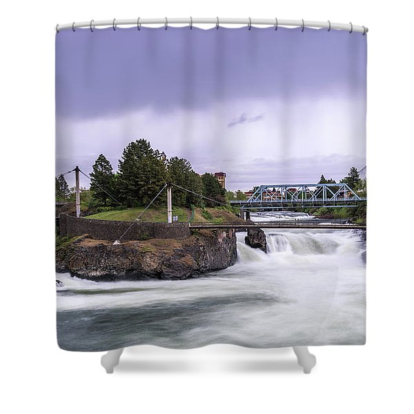 Upper Spokane Falls On A Rainy Day Shower Curtain