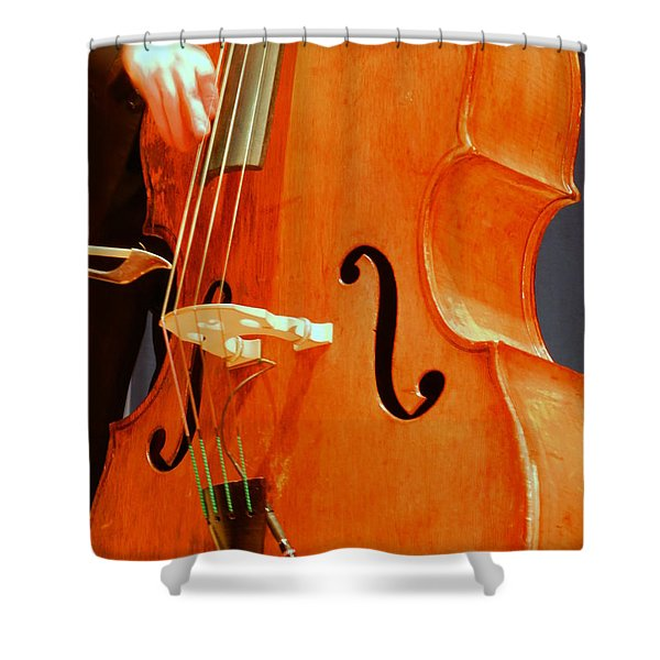 Shower Curtain featuring the photograph Upright Bass 3 by Anita Burgermeister