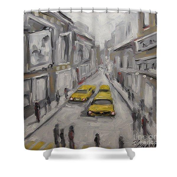 Urban Haze Cityscape By Prankearts Shower Curtain