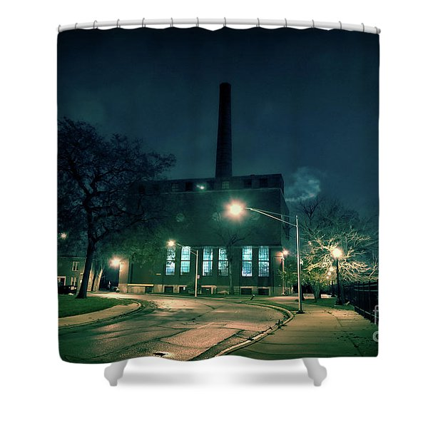 Chicago Urban Industrial Night Scenery Shower Curtain