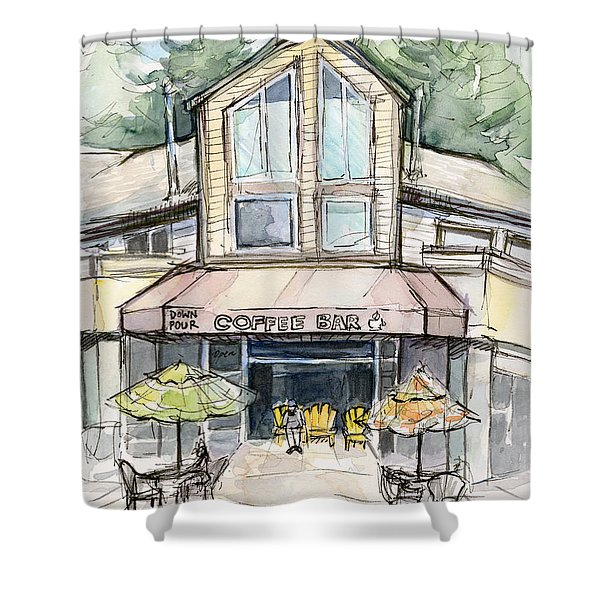 Coffee Shop Watercolor Sketch Shower Curtain