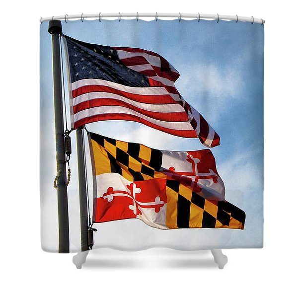 Us And Maryland Flags Shower Curtain