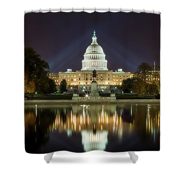 Us Capitol Night Panorama Shower Curtain