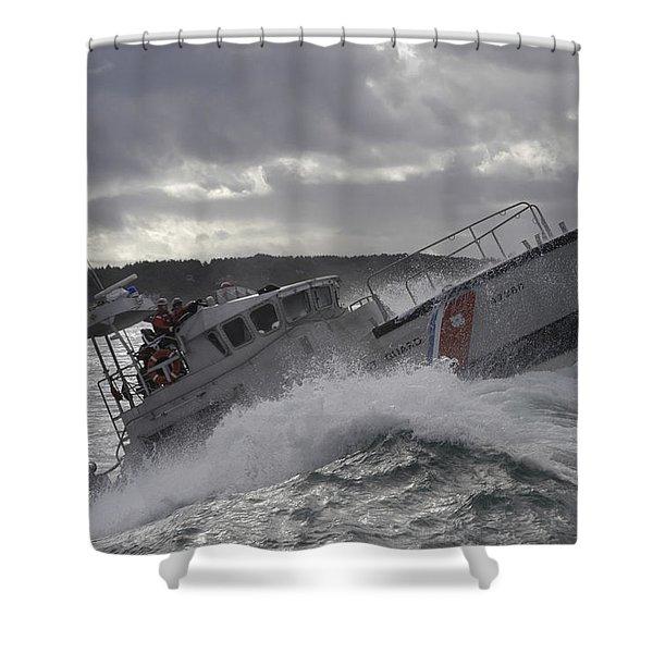 U.s. Coast Guard Motor Life Boat Brakes Shower Curtain