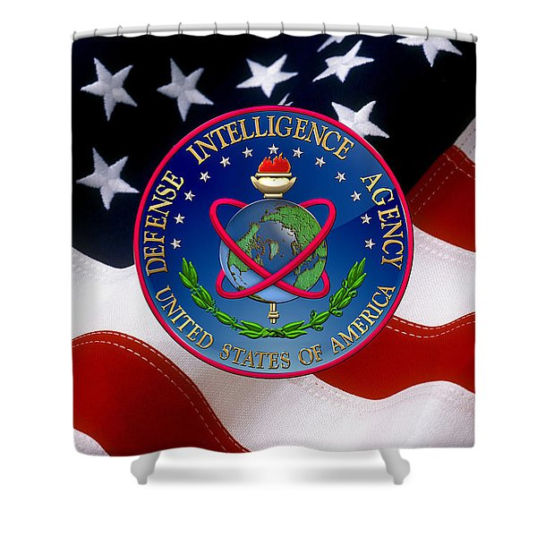 U. S. Defense Intelligence Agency - D I A Emblem Over Flag Shower Curtain