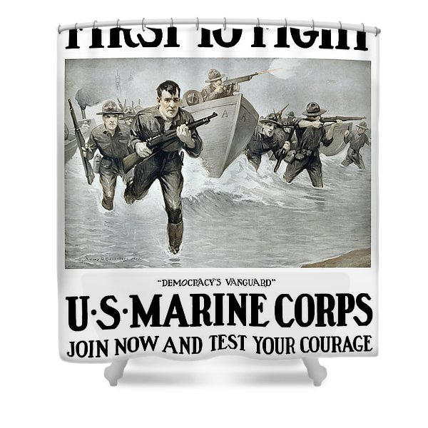 Us Marine Corps - First To Fight  Shower Curtain