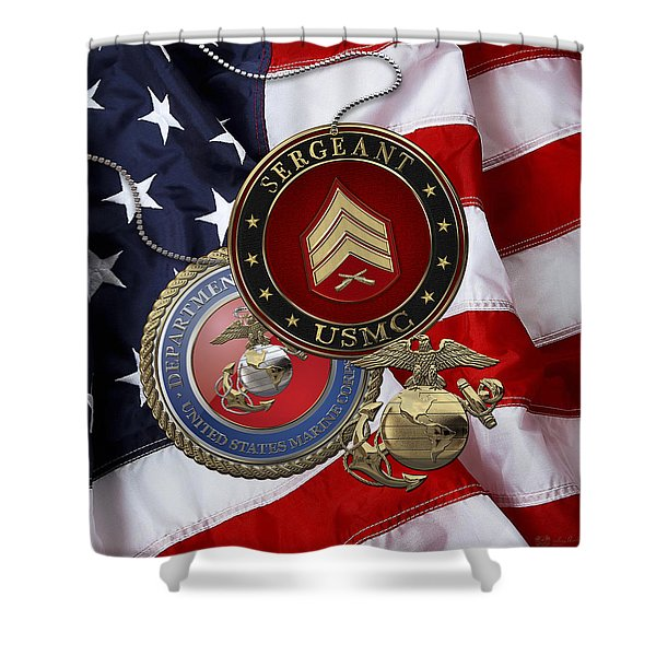 U. S. Marines Sergeant - U S M C Sgt Rank Insignia Over American Flag Shower Curtain