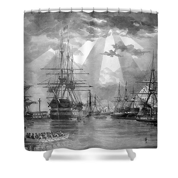 U.s. Naval Ships At The Brooklyn Navy Yard Shower Curtain