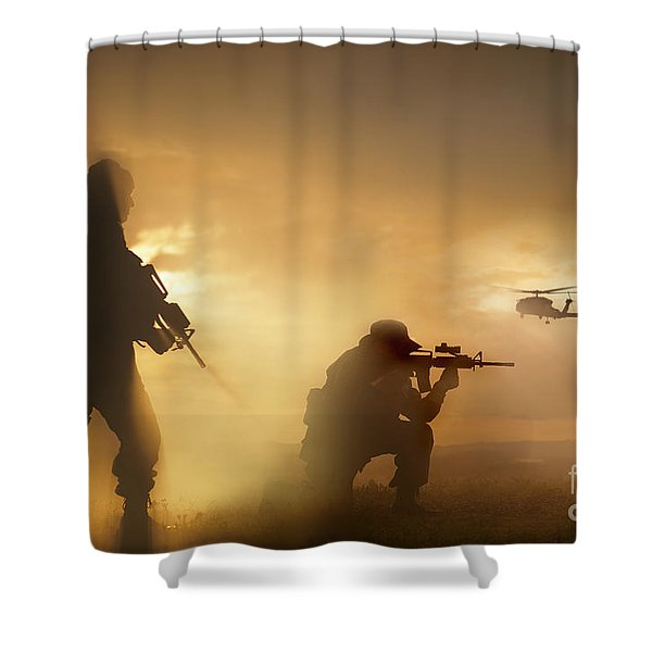 U.s. Special Forces Provide Security Shower Curtain