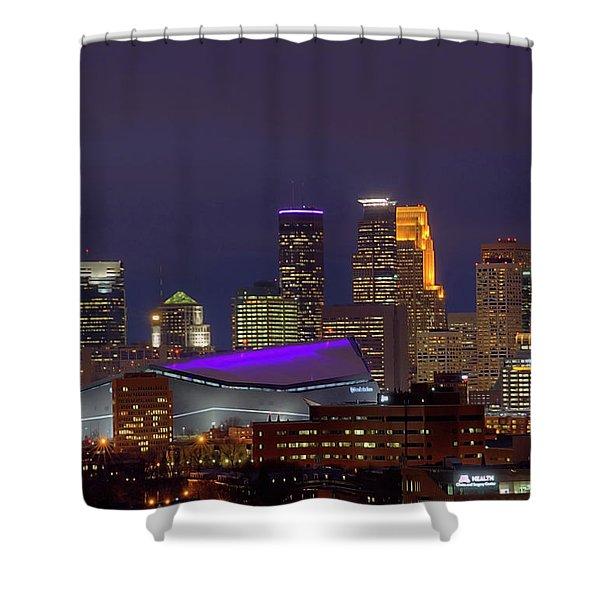 Usbank Stadium Dressed In Purple Shower Curtain