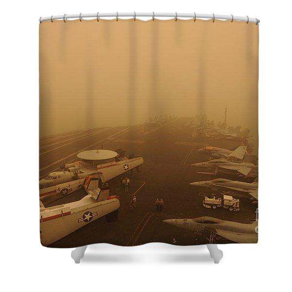 Uss Carl Vinson Passes Through A Sand Storm Shower Curtain