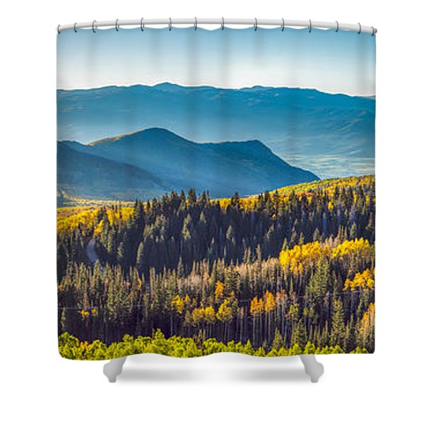 Utah Autumn Panorama Shower Curtain