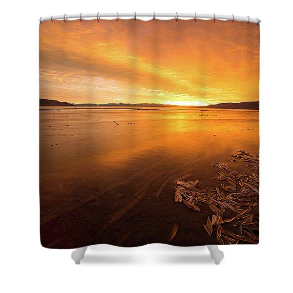 Utah Lake Sunset Shower Curtain