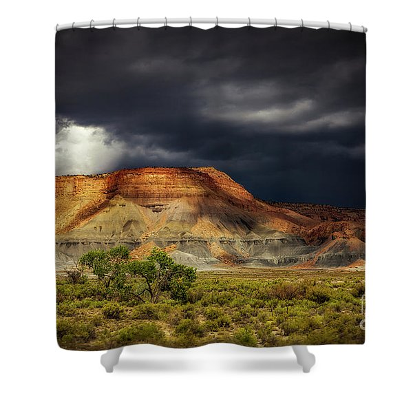 Utah Mountain With Storm Clouds Shower Curtain