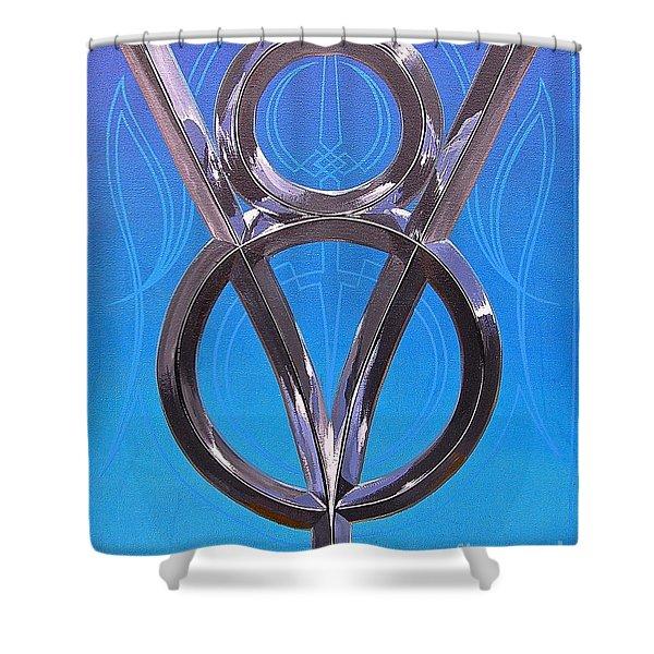 V Eight Power Shower Curtain