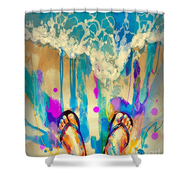 Shower Curtain featuring the painting Vacation Time by Tithi Luadthong