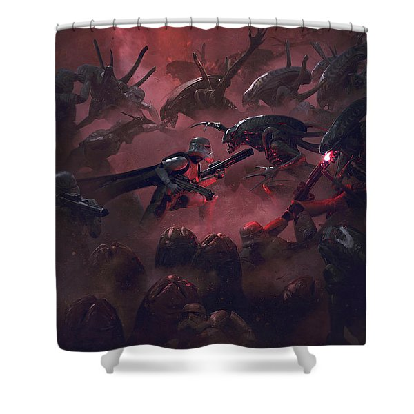Vader Vs Aliens 1 Shower Curtain