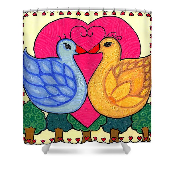 Valentine Birds Shower Curtain