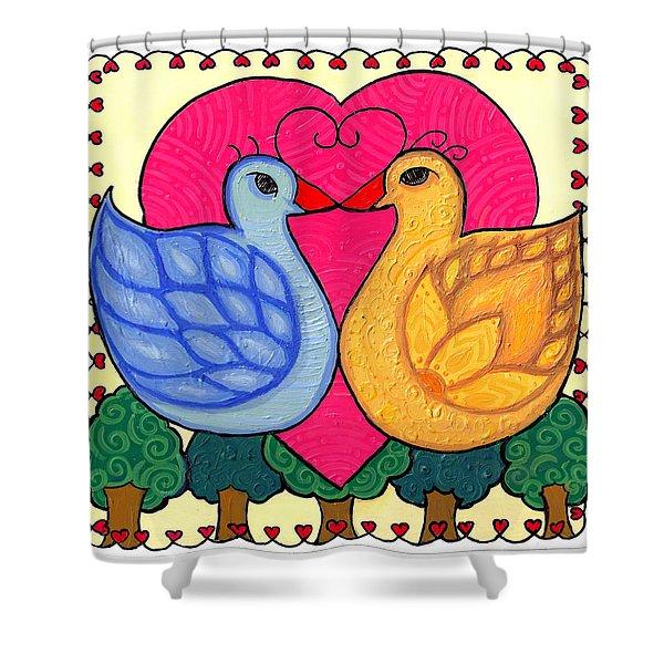 Valentine Birds Shower Curtain