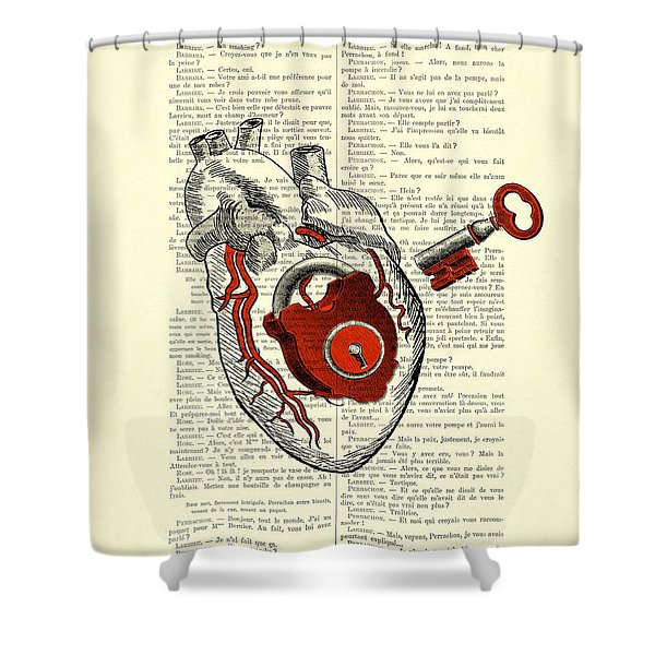 Valentine's Day Gift, Heart With Key Shower Curtain