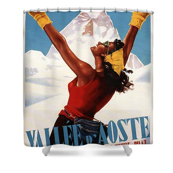 Vallee D'aoste - Aosta Valley, Italy - Retro Travel Poster - Vintage Poster Shower Curtain