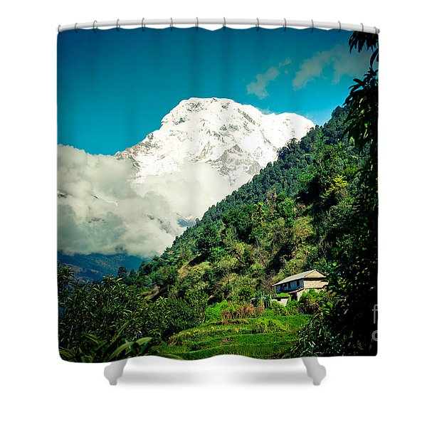 Valley Himalayas Mountain Nepal Shower Curtain