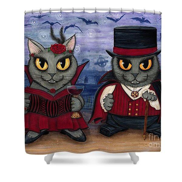 Vampire Cat Couple Shower Curtain