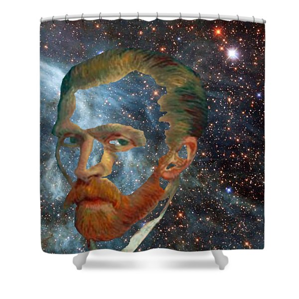 Shower Curtain featuring the digital art Van Gogh Art Study In Blue by Tristan Armstrong
