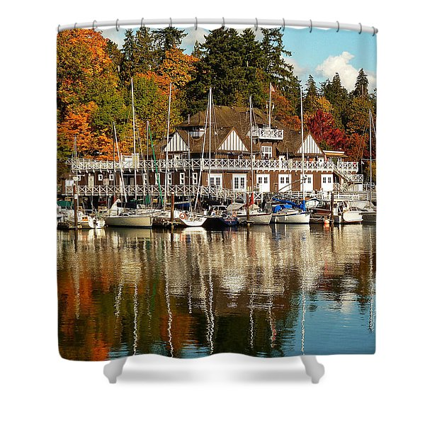 Vancouver Rowing Club In Autumn Shower Curtain