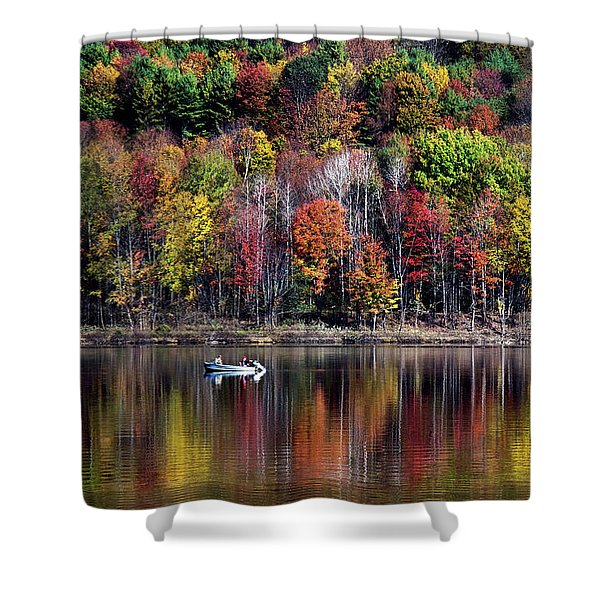 Vanishing Autumn Reflection Landscape Shower Curtain