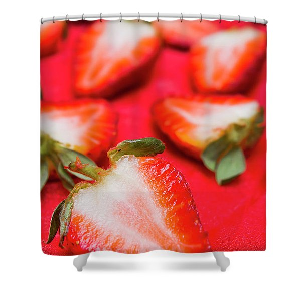 Various Sliced Strawberries Close Up Shower Curtain